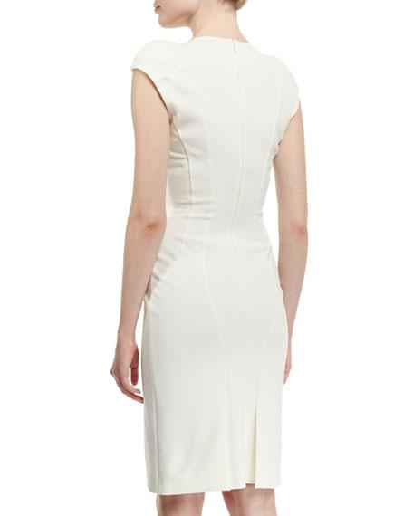 Cap-Sleeve V-Neck Sheath Dress, Chalk