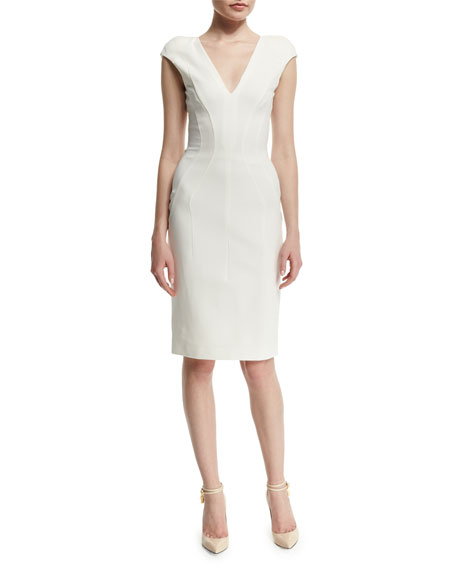 TOM FORD Cap-Sleeve V-Neck Sheath Dress, Chalk