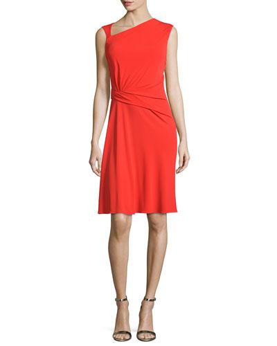 Ruched Matte-Jersey Sleeveless Dress, Geranium