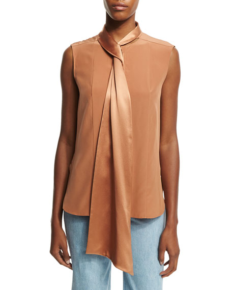 Adam Lippes Sleeveless Tie-Neck Blouse, Fawn