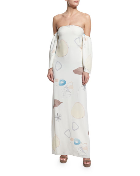 Adam Lippes Off-The-Shoulder Printed Column Gown, Light Abstract