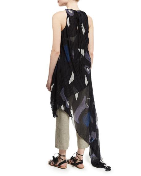 Sleeveless Pleated Asymmetric Gown, Black/Multi