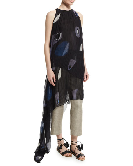 Adam Lippes Sleeveless Pleated Asymmetric Gown, Black/Multi