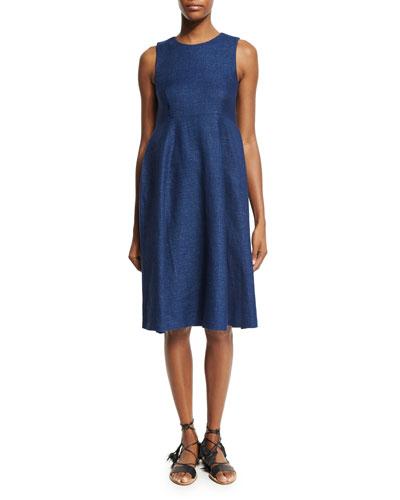 Sleeveless Jewel-Neck Swing Dress, Indigo