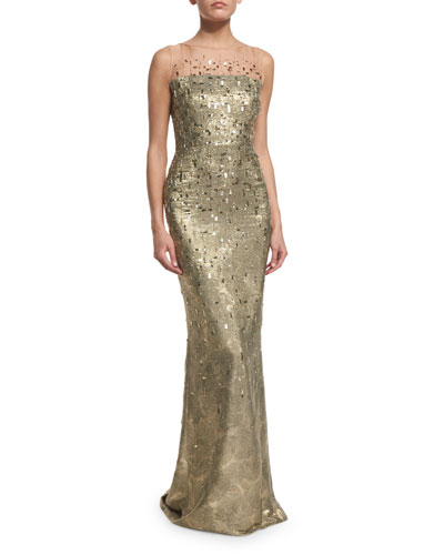 Grooved Lamé Sleeveless Gown, Gold/Multi
