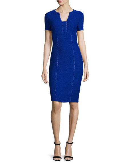 Newport Pickstitch Short-Sleeve Dress, Indigo/Bianco