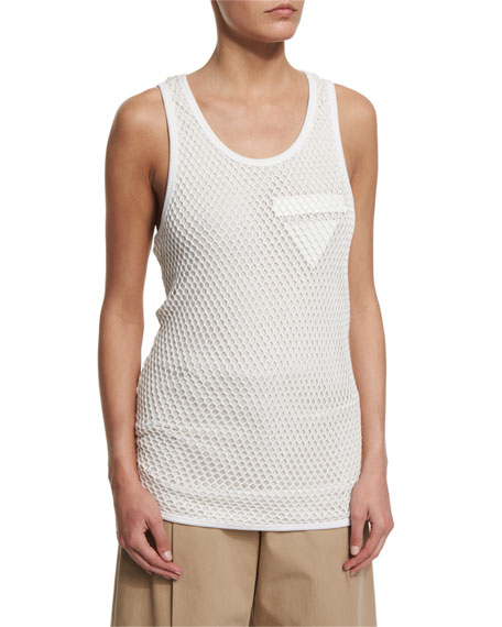 Alexander Wang Scoop-Neck Net-Overlay Tank Top, Powder