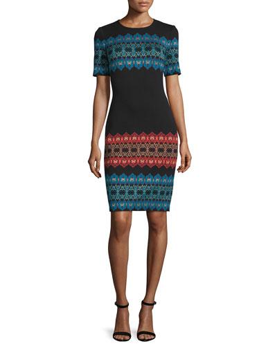 Metallic Jacquard Short-Sleeve Dress, Caviar/Multi