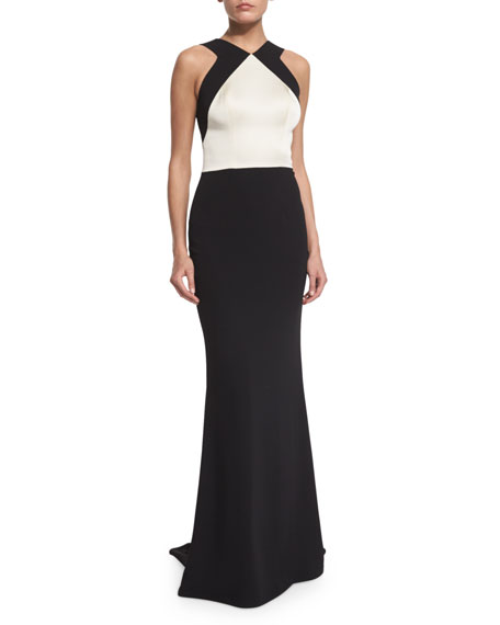 St. John Collection Classic Cady V-Neck Open-Back Gown