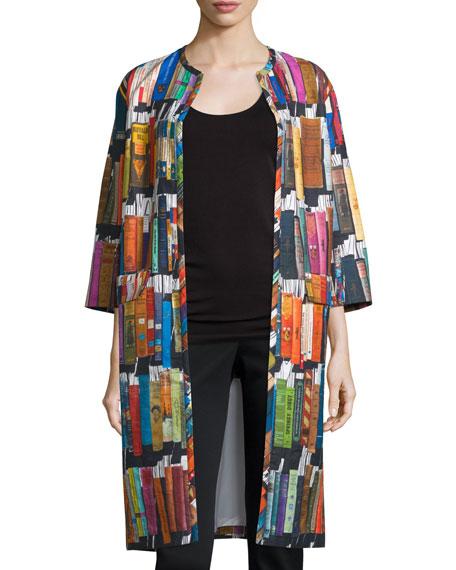 3/4-Sleeve Book-Print Duster Coat, Multi Colors