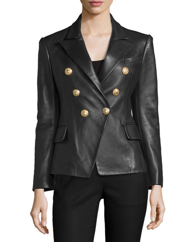 Classic Leather Double-Breasted Blazer, Black
