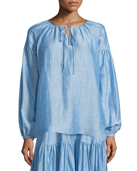 Co Long-Sleeve Tie-Neck Peasant Blouse, Light Blue