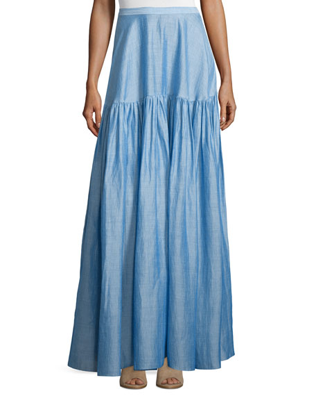 Co High-Waist Tiered Maxi Skirt, Light Blue