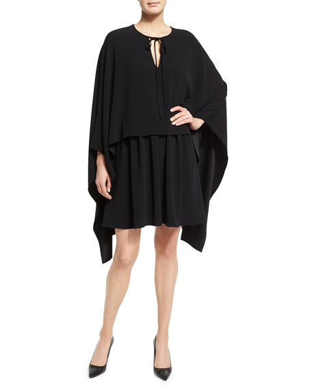 Tie-Neck Long-Sleeve Cape Dress, Black
