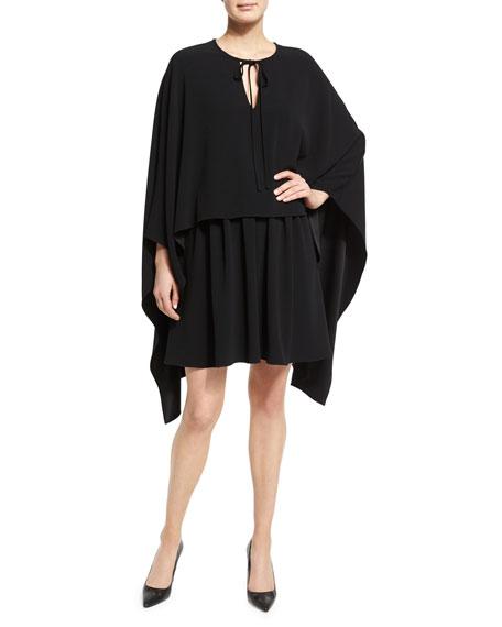 Co Tie Neck Long Sleeve Cape Dress Black Neiman Marcus