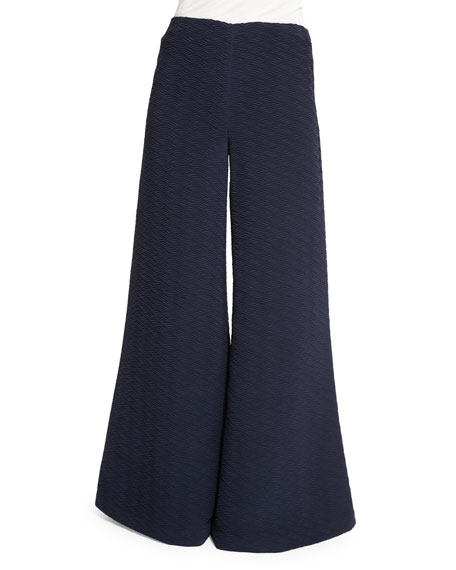 Co Textured Wide-Leg Flare Pants, Navy