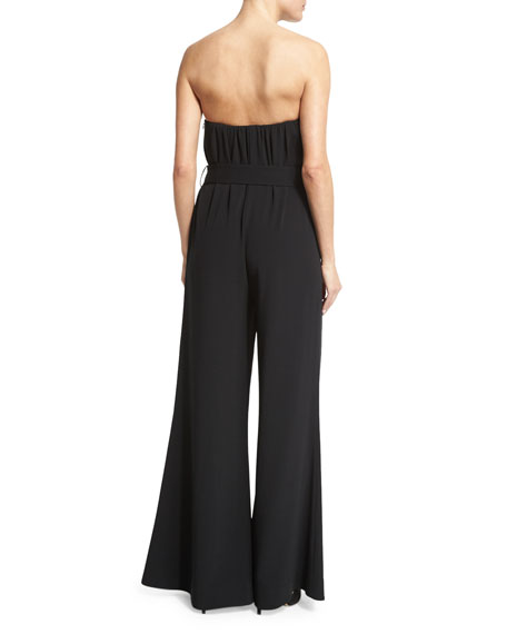 Strapless Belted Wide-Leg Jumpsuit, Black