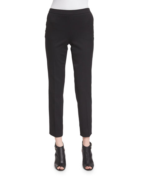 Carolina Herrera Mid-Rise Skinny Cropped Pants, Black