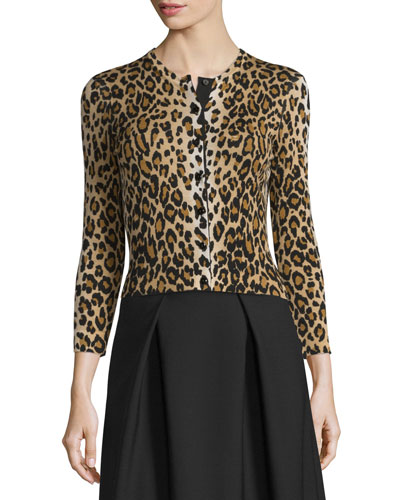 3/4-Sleeve Leopard-Print Cardigan, Black/Camel
