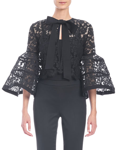 Carolina Herrera Bell-Sleeve Lace Jacket with Bow, Black