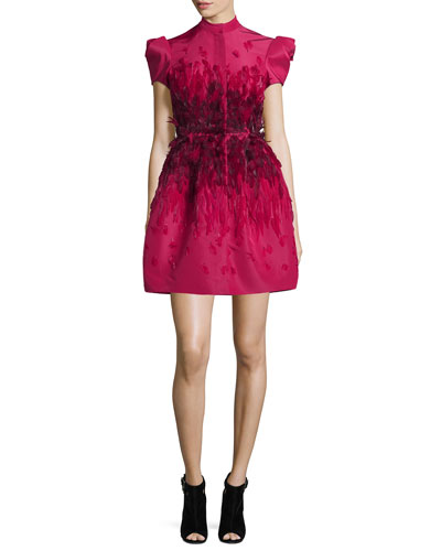 Feather-Embellished Mini Cocktail Dress, Raspberry