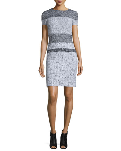 Short-Sleeve Striped-Tweed Sheath Dress, Black/White