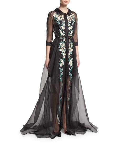 Carolina HerreraFloral-Embroidered Organza Trench Gown, Black