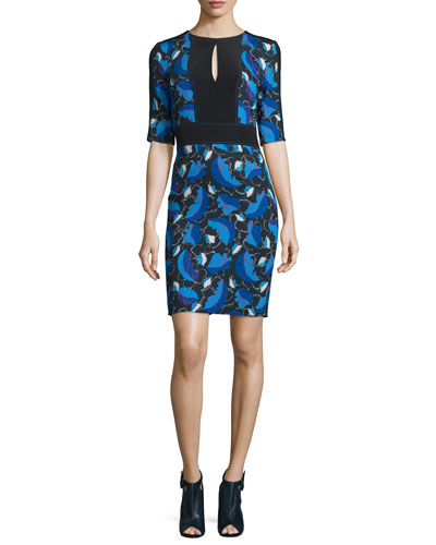 Half-Sleeve Printed Sheath Dress with Keyhole, Multi