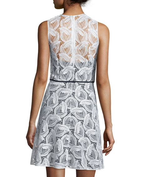 Sleeveless Sheer-Yoke Lace Sheath Dress, Ivory