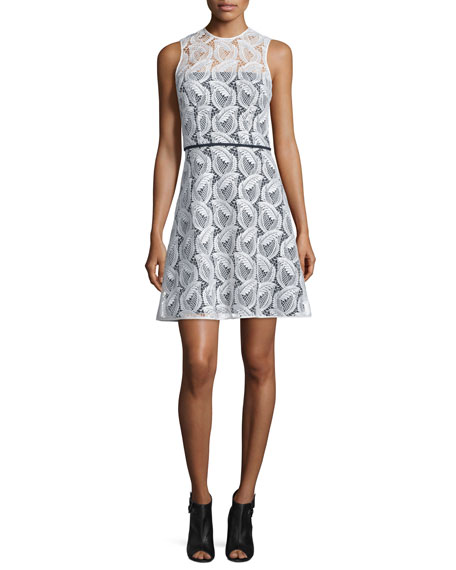 Carolina Herrera Sleeveless Sheer-Yoke Lace Sheath Dress, Ivory