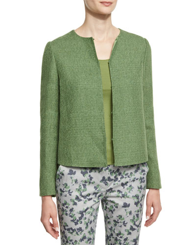 Long-Sleeve Round-Neck Tweed Jacket, Green