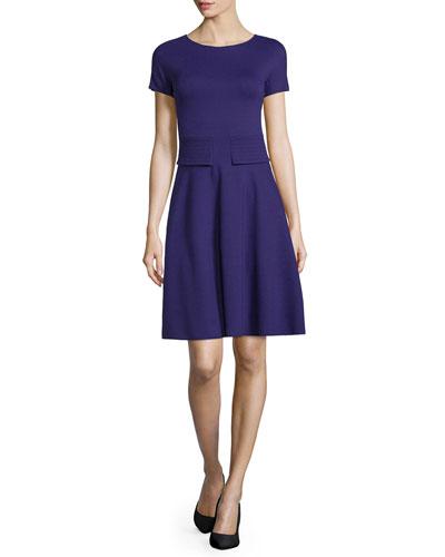 Short-Sleeve Trapunto-Waist Dress, Imperial Purple
