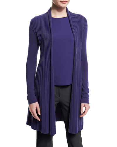 Open-Front Pleated Cardigan, Imperial Purple