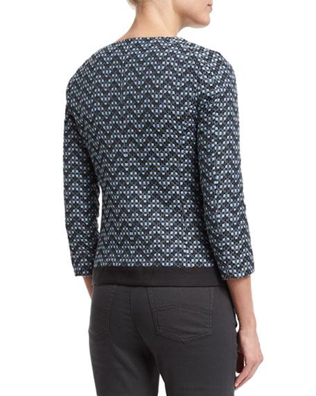 3/4-Sleeve Zip-Front Zigzag Jacket, Blue/Multi