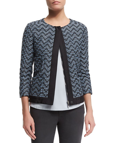 3/4-Sleeve Zip-Front Zigzag Jacket, Blue/Multi