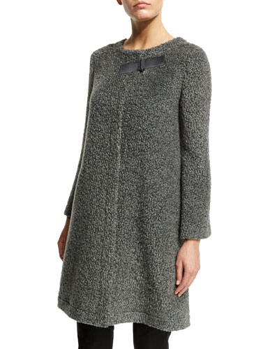 Long-Sleeve Boucle Trapeze Coat, Gray