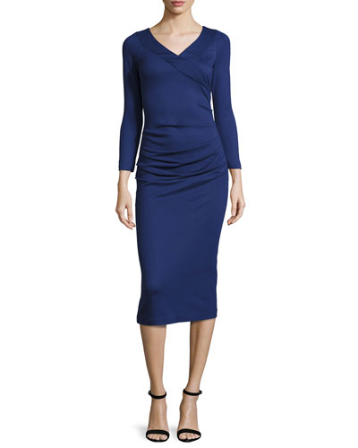 Ruched V-Neck Midi Dress, Royal Blue