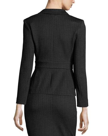 Micro-Herringbone Belted Jacket, Grey/Black