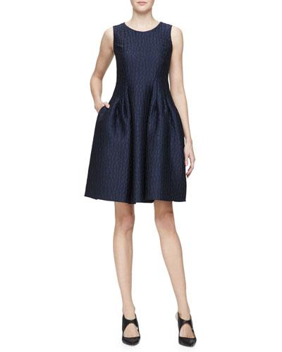 Sleeveless Fit-&-Flare Dress, Indigo/Multi