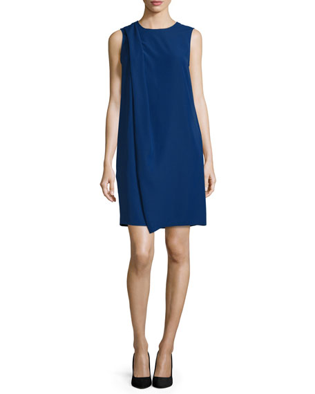 Armani Collezioni Sleeveless Drape-Front Shift Dress, Royal Blue