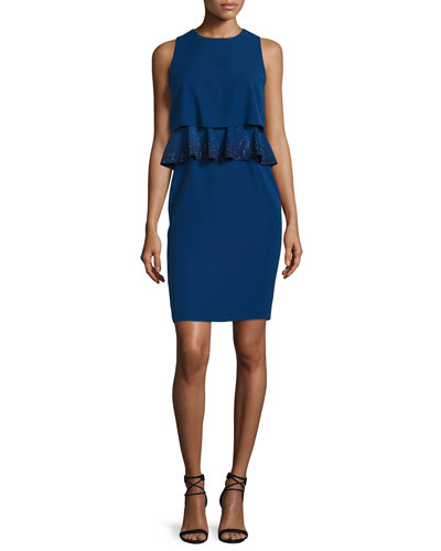 Embroidered-Peplum Popover Dress, Royal Blue