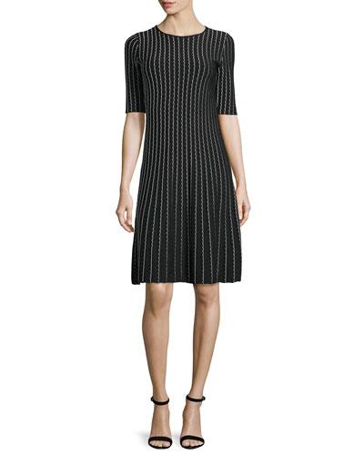 Half-Sleeve Bicolor Dress, Black