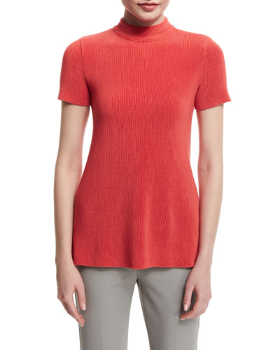 Short-Sleeve Mock-Neck Plisse Top, Matisse Red