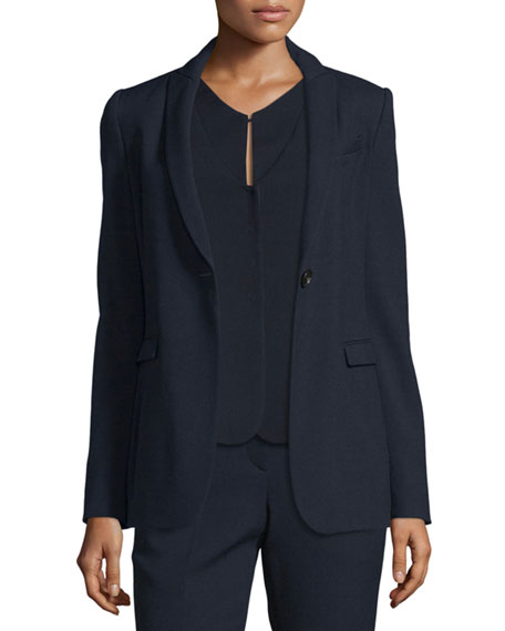 Armani Collezioni Textured One-Button Jacket, Navy Blue