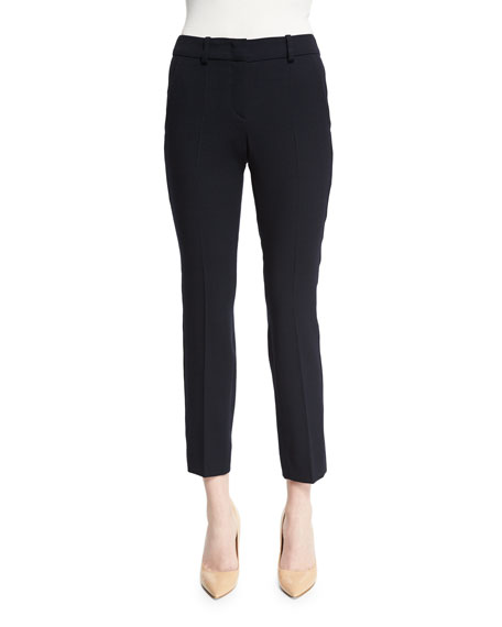 Armani Collezioni Slim-Leg Stretch-Wool Ankle Pants, Navy Blue
