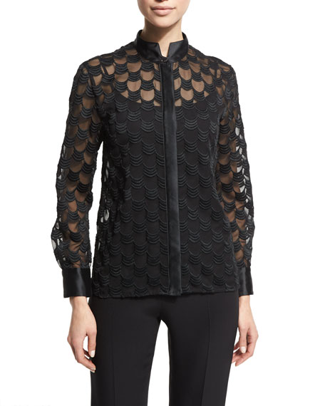Armani Collezioni Embroidered Georgette Blouse, Black