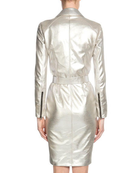 Zip-Front Metallic Leather Moto Dress, Light Silver