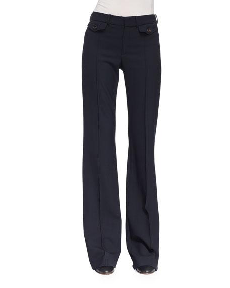 Chloe Wool Boot-Cut Pants, Navy