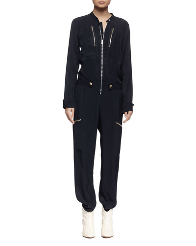 Long-Sleeve Zip-Front Jumpsuit, Navy