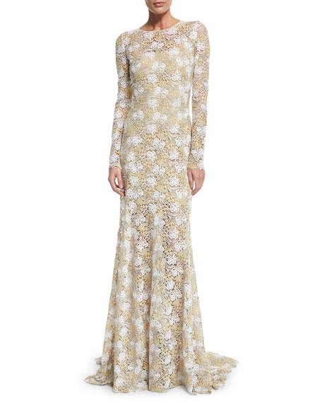 Oscar de la Renta Long-Sleeve Floral-Lace Gown, Platinum
